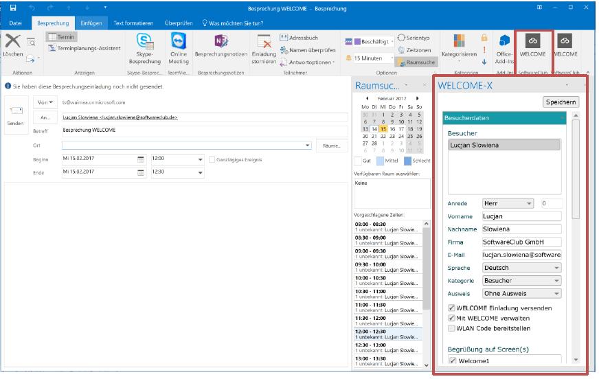 Besuchermanagement mit Outlook Integration
